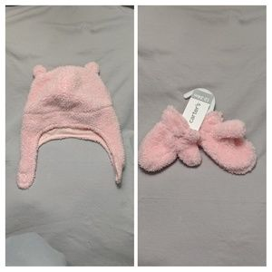 Carter's Sherpa Hat and Mitten Set 12-24M